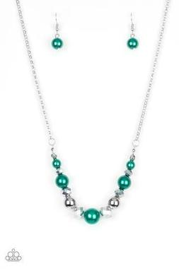 PAPARAZZI THE BIG- LEAGUER GREEN PEARLY BEADS NECKLACE & EAR