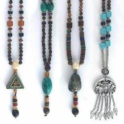 Tibetan Stone Beaded Beads Ethnic Retro Wood Long Necklace F