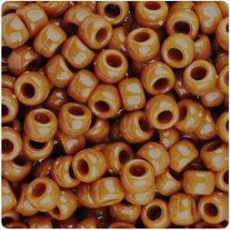 BeadTin Tiger Eye Brown Opaque 9mm Barrel Pony Beads