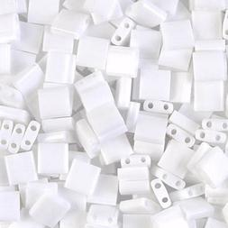 Miyuki Tila 2-Hole Square Beads 5mm Opaque White MBTL-402