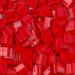 Miyuki Tila 2 Hole Square Beads 5mm 'Matte Opaque Red AB' 7.
