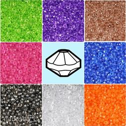 BeadTin Transparent 6mm Faceted Rondelle Plastic Craft Beads