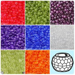 BeadTin Transparent 9mm Faceted Barrel Pony Beads  - Color c