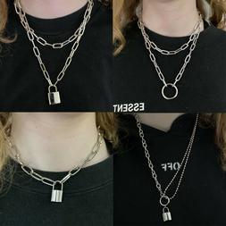 UK Lock Chain Necklace Layered Padlock Pendant Eboy Fashion
