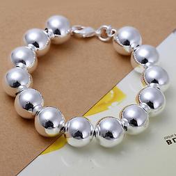 Unisex 925 Sterling Silver Bracelet Beads Balls Size 8 Inche