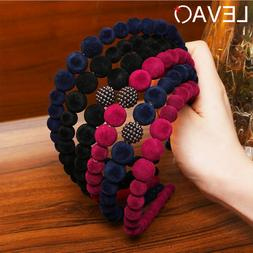 Velvet Headband Beads Hairband for Women Beaded Hair Bands H