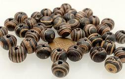 Vintage 10mm Brown & Tan Striped Coco Wood Beads 30