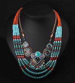 Vintage Ethnic Tribal Pony Beads Necklace Boho Pendant State