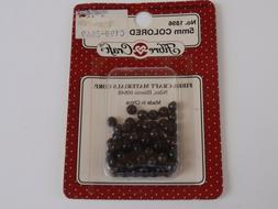 Vintage Fibre Crafts Round Black Pearl Shaped Beads 5mm 75 P