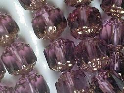 Vtg 50 AMETHYST PURPLE / BRONZE CATHEDRAL FIRE POLISHED 8m G