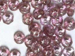 Vtg 600 LUMI PINK FACETED RONDELLE 2.5X4m GLASS BEADS  #0430