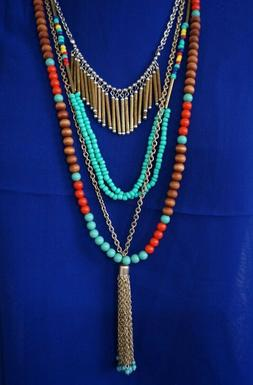 Western Gypsy Multi-Layer metal wood Turquoise Red beads Nec