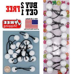 White Braid Girls Kids Scrunchie Jumbo Beads Hair Tie Ball P
