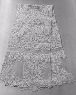 """White Corded Embroidery Sequins Beads Lace Fabric 50"""" Widt"""