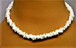 "White Hawaiian 18"" Chipped Puka Sea Shell Necklace Surfer Ch"