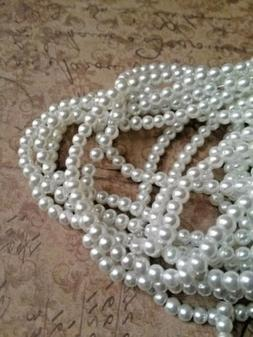 White Pearl Beads 4mm Bulk Glass Jewelry Making Supplies Sma