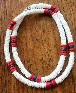 White Puka Shell Beach Surfer Necklace 18 inch Red, White &