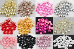 Wholesale 100 pcs 10 mm Half Pearl Beads Flat Back Scrapbook