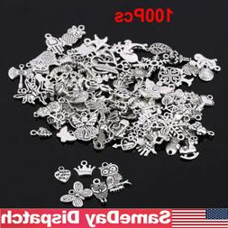 Wholesale 100pcs Bulk Mixed Silver Charms Pendants for DIY J