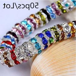 wholesale 50pcs 6mm metal silver plated crystal