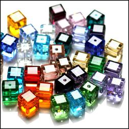 Wholesale Cube Crystal Glass Loose Beads Fit Jewelry DIY Mak