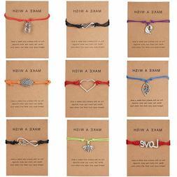 Wish String Charm Adjustable Bracelet Friendship Heart Men W