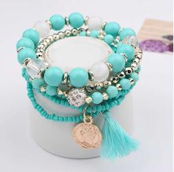 Women Fashion bracelet Multilayer Beads Bangle Tassels Brace