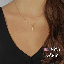 Women's Gold Silver Plated Small Tiny Cross Pendant Necklace