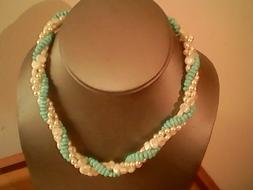 Unbranded women's green beads & white faux pearl choker neck