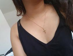 Women's Simple Small Tiny Cross Pendant Necklace Gold Silver