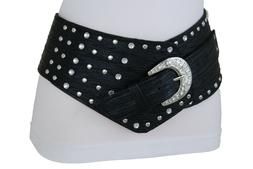 Women Western Belt Hip High Waist Wide Black Fabric Silver M