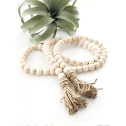 Wood Bead Garland with Tassels Farmhouse Beads Rustic Style