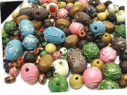 Wood Beads Large Wood Beads Printed Mix Size Shape 8mm 14mm