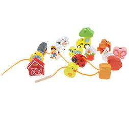 Wooden Cartoon Threading Beads Lacing Game for Kids Toddler