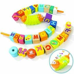 TOP BRIGHT Wooden Lacing Beads for Toddlers Stringing Beads