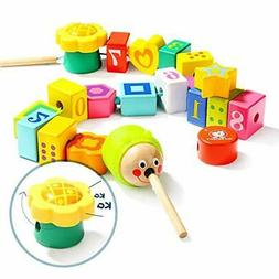 TOP BRIGHT Wooden Lacing Beads for Toddlers, Fine Motor Skil