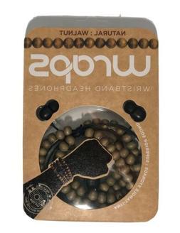 Wraps Wristband In-Ear Mic Headphones Wood Bead Cable - Natu